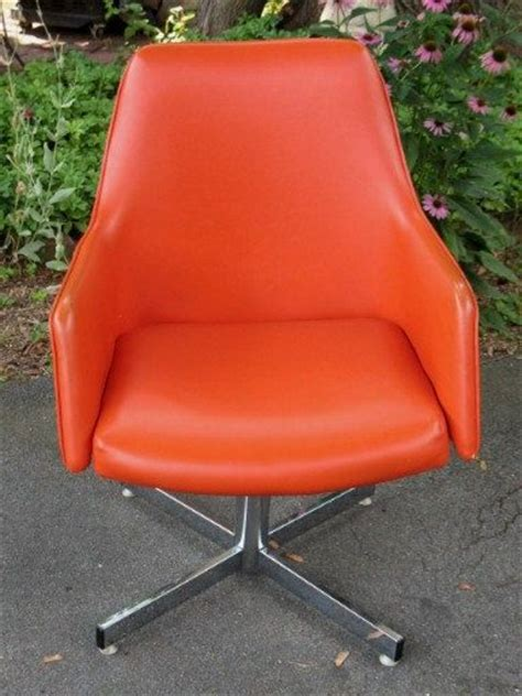 summer sale vintage retro orange vinyl swivel arm chair