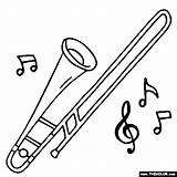 Trombone Coloring Instrument Pages Drawing Piccolo Instruments Musical Tenor Trombones Bass Jazz Results Sketch Getdrawings Template sketch template