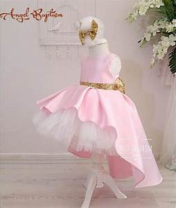 Cute pink high low flower girl dresses with gold sequin ...
