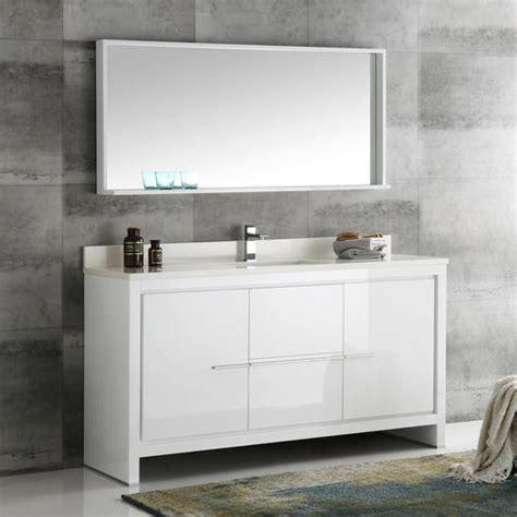fresca allier  white modern single sink bathroom vanity