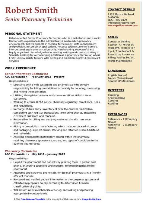 Pharmacy Resumes Pdf by Pharmacy Technician Resume Sles Qwikresume