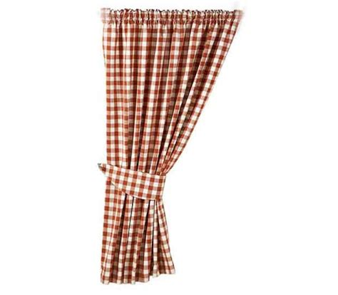 gingham terracotta country check ready made curtains