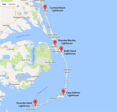 map  outer banks nc lighthouses obx stuff
