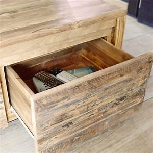 meuble tv en bois de teck recycle 120 cargo bois dessus With meubles en teck recycle