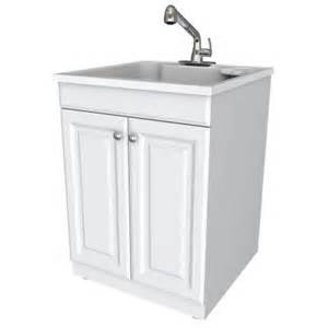 glacier bay all in one 24 in x 24 5 in x 34 5 in plastic laundry sink and wood cabinet in