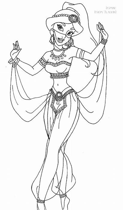 Jasmine Deviantart Coloring Pages Gown Lineart Disney