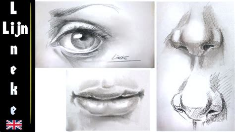 easy eye nose  mouth  beginners pencil drawing youtube