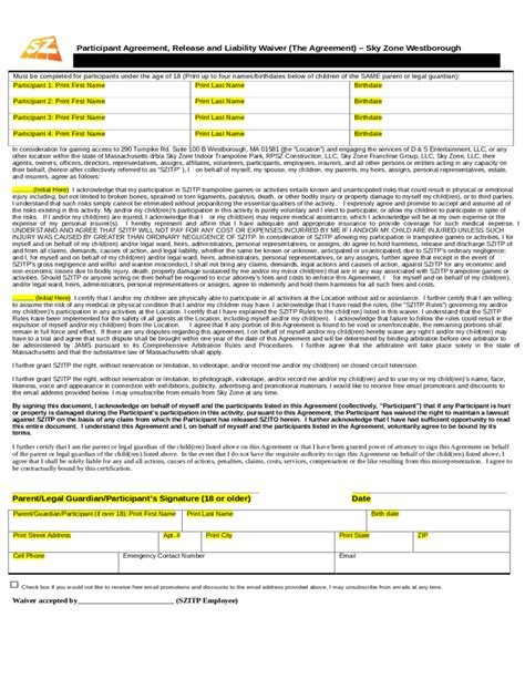 sky zone waiver form sky zone waiver sle form free