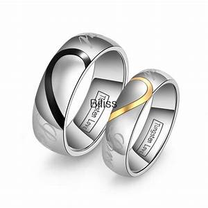 Lover39s matching heart tungsten carbide men women promise for Men and women matching wedding rings
