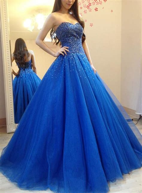 royal blue tulle beaded  sequins ball gown blue formal