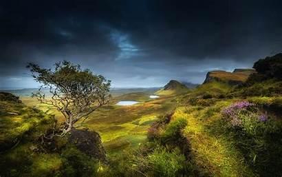 Scotland Highland Summer Valley Hills Flowers Grass