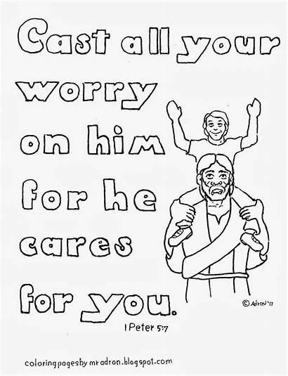 Coloring Peter Cast Him Worry Bible Cares