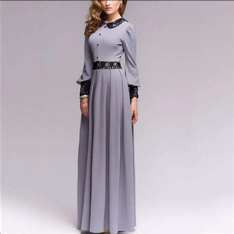Pre order grey black lace crochet long sleeve chiffon sexy elegant puffy dinner dress for ...