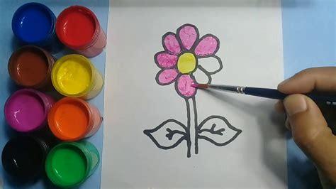 cara menggambar dan mewarnai bunga
