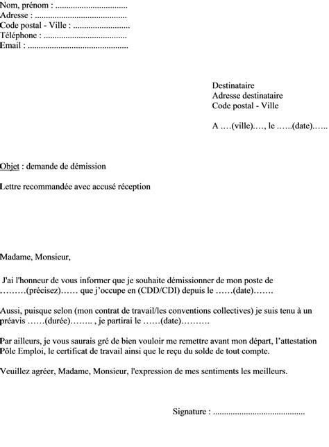 modele de lettre de demission cdd mod 232 le de lettre de d 233 mission pour un salari 233 en cdd ou en