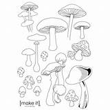 Mushroom Embroidery Drawing Patterns Mushrooms Coloring Pattern Printable Template Drawings Fairy Stitching Transfers Crafts Geometric Inspiration Doodle Cool Stitch Cross sketch template