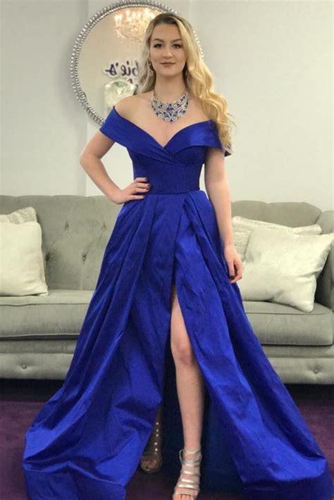elegant   shoulder royal blue long prom dress