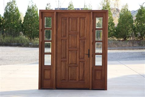 Doors : Exterior Mahogany Door With Sidelights