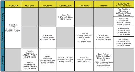 Timetable   CIRCA