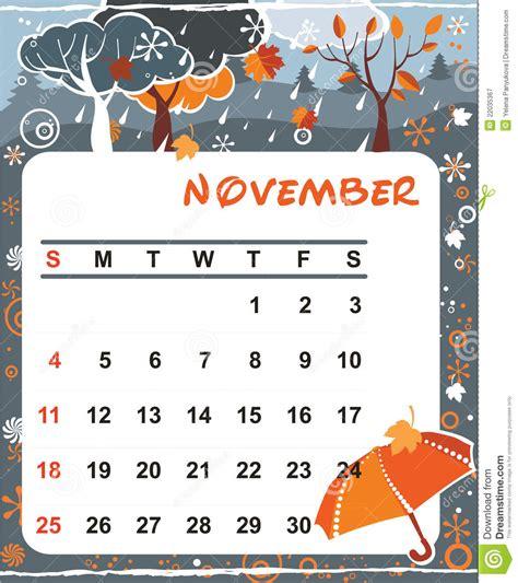decorative frame  calendar november stock vector