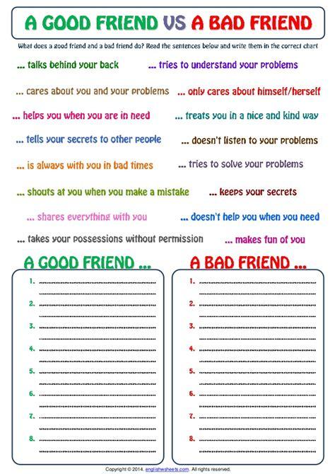 good friend  bad friend categorizing exercise worksheet
