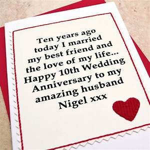 personalised 10th wedding anniversary card by jenny arnott With 10th year wedding anniversary message for my husband