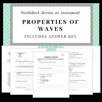properties of waves worksheet review sheet or quiz with answer key