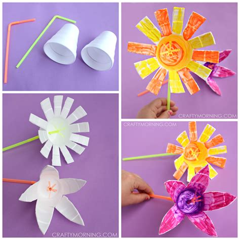 styrofoam cup flowers kids craft crafty morning