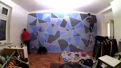 painting geometric shapes on walls diy geometric wall painting youtube