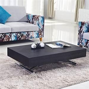 Table Bois Et Noir : table basse relevable ema bois noir tables relevables ~ Dailycaller-alerts.com Idées de Décoration