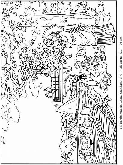 Coloring Pages Monet Claude Paintings Adult Dover