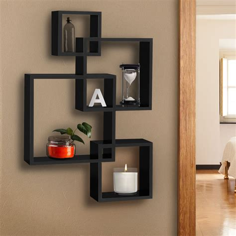 Home Wall Shelves by Bcp Intersecting Squares Floating Shelf Wall Mounted Home