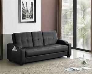 Black leatherette modern convertible sofa bed for Contemporary convertible sofa bed
