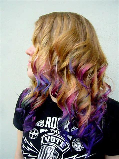 Dip Dye Colored Pink Fuschia Purple Blue Indigo Hair