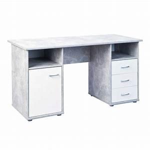 Schreibtisch Weiß Grau : b ro schreibtisch poco in grau beton optik ~ Frokenaadalensverden.com Haus und Dekorationen