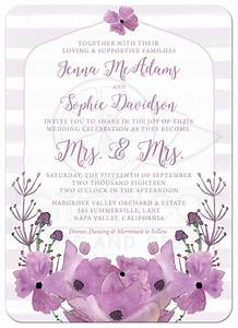 same sex lesbian wedding invitations mrs mrs lovely With wedding invitations with lavender flowers