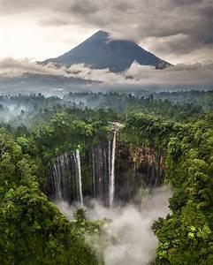 Waterfall, And, Mountain, East, Java, Indonesia, U2013, Stickety, Sweeet