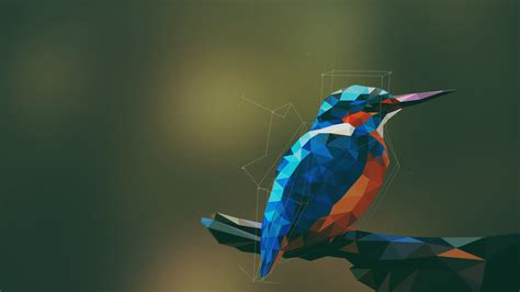 Low Poly Animal Wallpaper - animals birds kingfisher low poly geometry digital