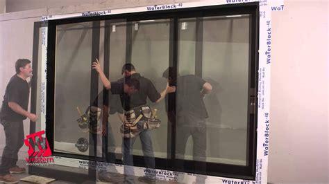 western  series wood aluminum clad multi  door installation youtube