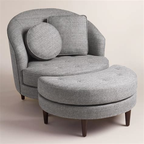 grey chair and ottoman gray seren round seating collection world market