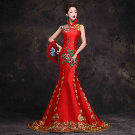 floral embroidered sleeveless mandarin collar red chinese dress red chinese dress