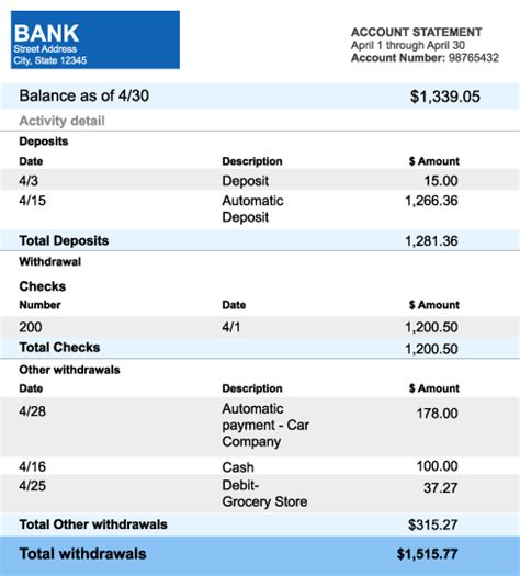 bank statement templates formats examples  word excel