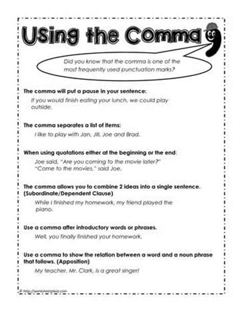 Commarules, How To Use The Comma Worksheets