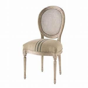 Chaise Médaillon Maison Du Monde : chaise m daillon cann e en lin cru et bleu maisons du monde ~ Teatrodelosmanantiales.com Idées de Décoration