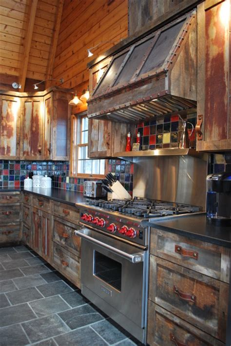 barnwood kitchen  log home rustic kitchen   kpd interiors