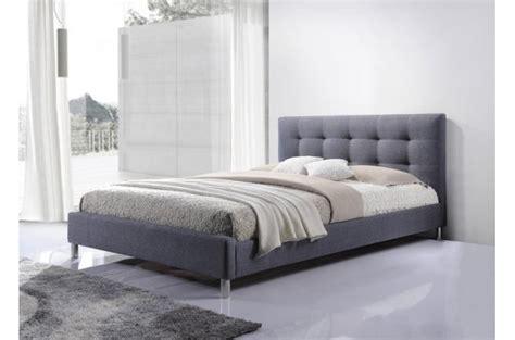 lit gris tissu avec tete de lit capitonne  eva lit