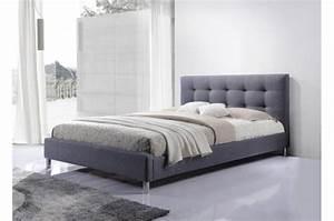 Tete De Lit Tissu : lit gris 160 en tissu avec t te de lit capitonn e tulius ~ Premium-room.com Idées de Décoration