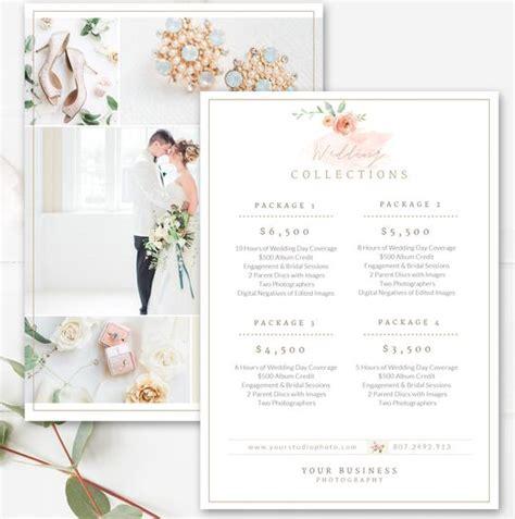 photography price list template wedding price sheet