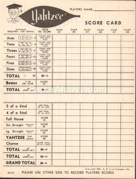 yahtzee score card pad  vintage original  game