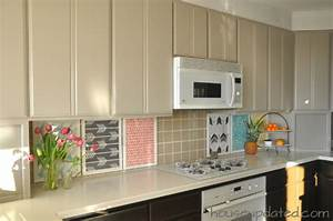 diy temporary backsplash house updated With what kind of paint to use on kitchen cabinets for art wall frames